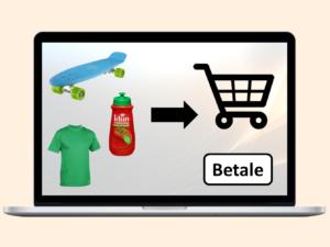 PC-skjerm med ketsjuppflaske, t-skjorte og skateboard på vei inn i en handlevogn