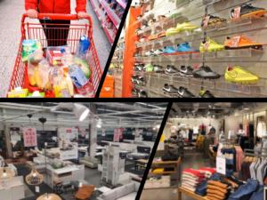 Handlevogn, skohyller, møbelbutikk og klesforretning