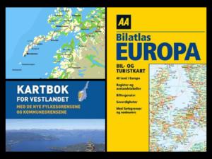 Kart over Lofoten og omslag av to kartbøker