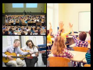 Universitetsklasse og skoleklasse i sine klasserom, gitarlærer underviser