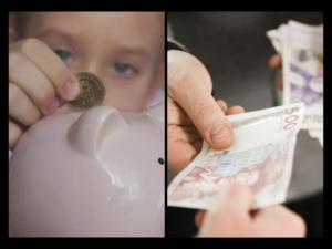 Jente som putter penger i en sparegris og hender som betaler med kontanter