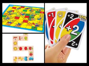 Brettspill, domino og UNO-kortspill