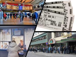 Stasjonsaula, billetter på papir, serviceskranke og billettkø.