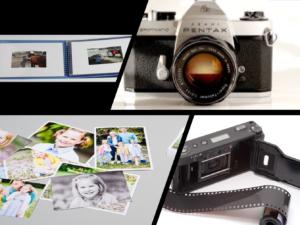 Album, kamera, bilder på papir og film for kamera