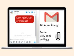 PC-skjerm med messanger og e-post