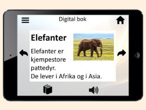 Tekst og bilde om elefant på nettbrett