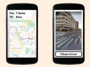 Mobilskjermer med kart og Street View på
