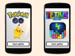 To smarttelefoner med Pokémon og Tetris på skjermene
