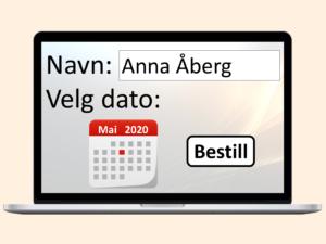 PC med timebestilling på skjermen