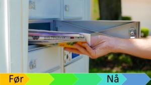 Hånd som tar ut post av postboks