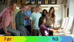 Gruppe studenter foran mange dataskjermer