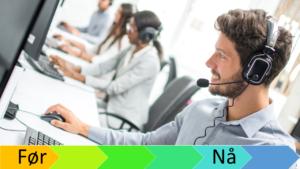 Mennesker som sitter og veileder kunder på telefon