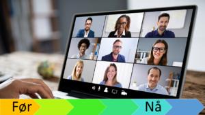 PC-skjerm med team-møte med 9 bilder av folk